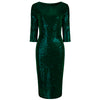 Emerald Green Velour Sequin Wiggle Dress - Pretty Kitty Fashion