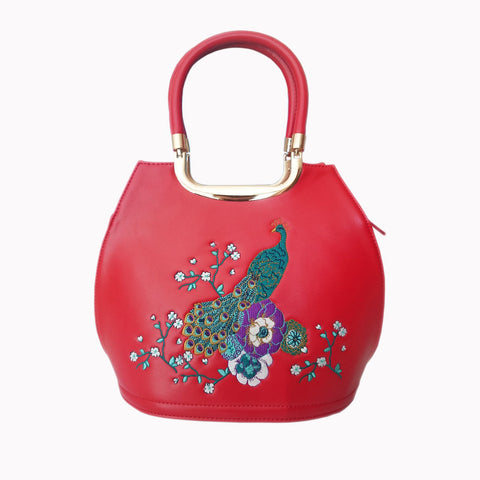 Red Peacock Embroidered Handbag