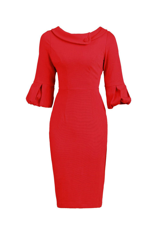Jolie Moi Red Ruffle Half Sleeve Boat Neck Collar Pencil