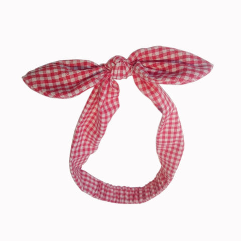Red White Gingham Check Vintage Headscarf