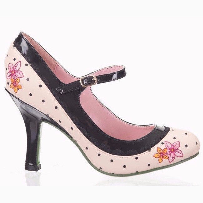 Rose Pink and Black Polka Dot Mary Jane Heels - Pretty Kitty Fashion