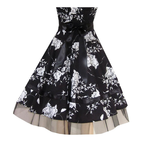 Sexy Black Floral Evening Party Prom Strapless Dress