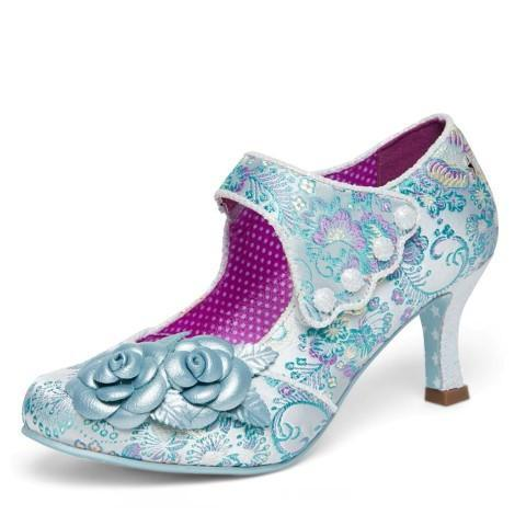 Blue Satin Mary Jane Court Shoe - Pretty Kitty Fashion