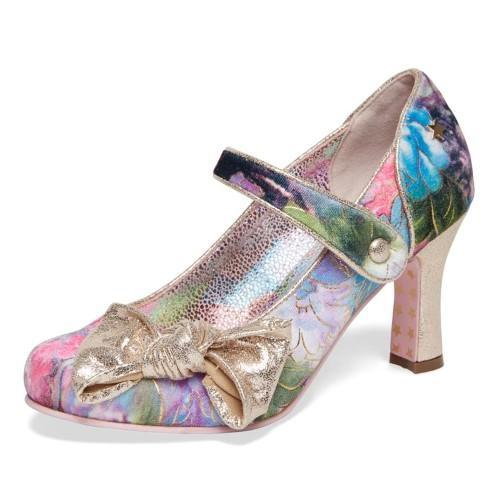 Joe Browns Vintage Multi Mary Jane Floral Kitten Heel Court Shoes