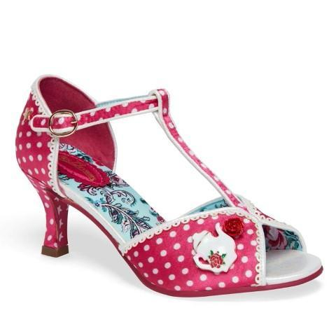 Joe Browns Cerise Pink Polka Dot T Bar Peep Toe Heels - Pretty Kitty Fashion