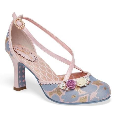 Vintage Lilac Pink Metallic Crossover Heels - Pretty Kitty Fashion