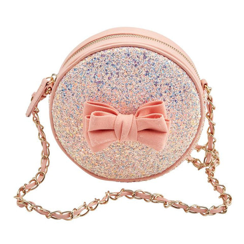 Round Peach Bow Glitter Bag