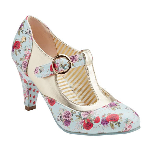 Blue Floral Rose T Bar Heels