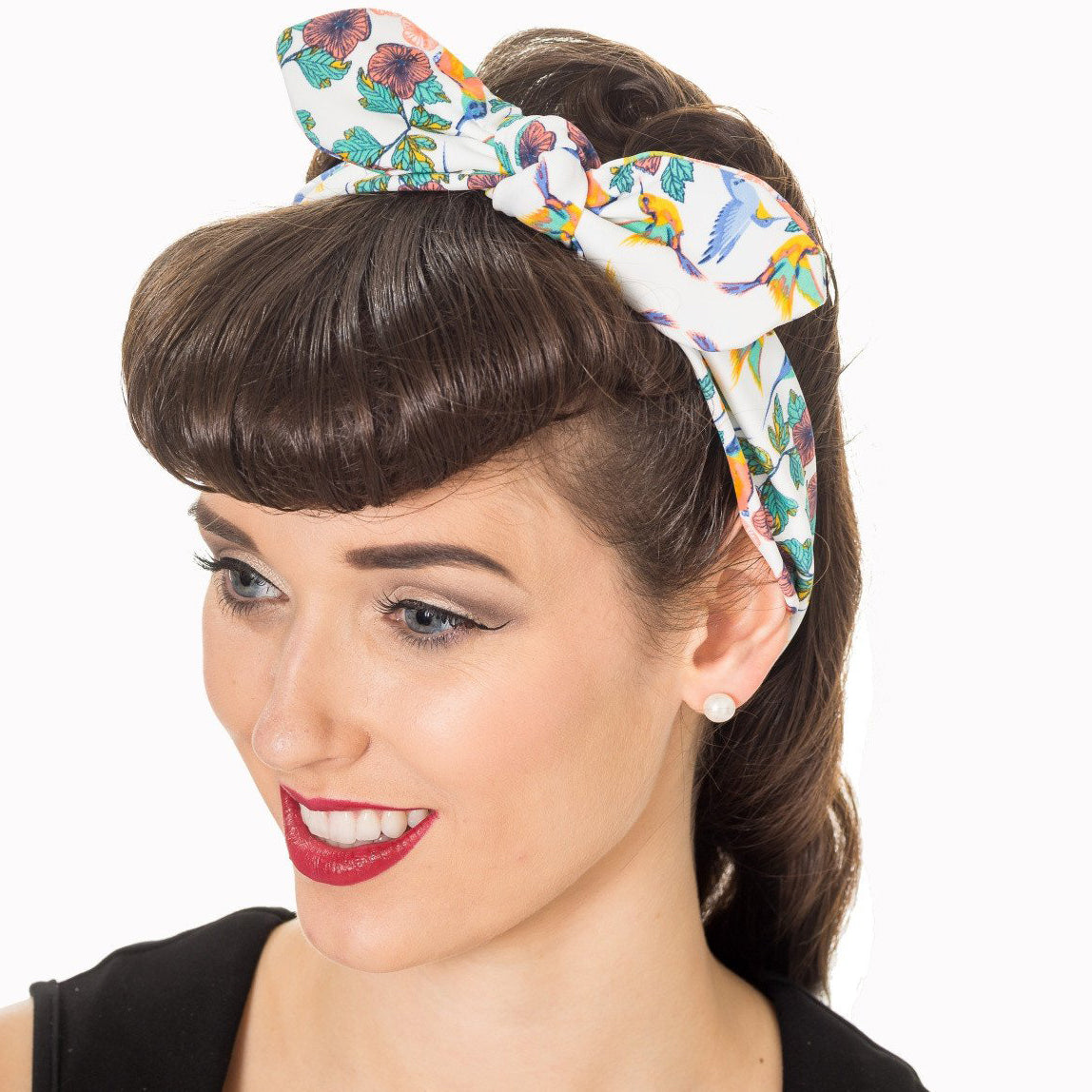 White Floral Bandana Headscarf - Pretty Kitty Fashion