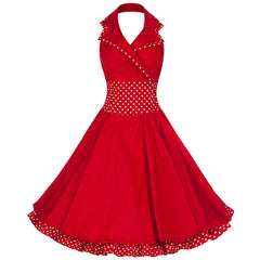 Pretty Kitty Fashion 50s Collared Halterneck Red Polka Dot Swing Dress