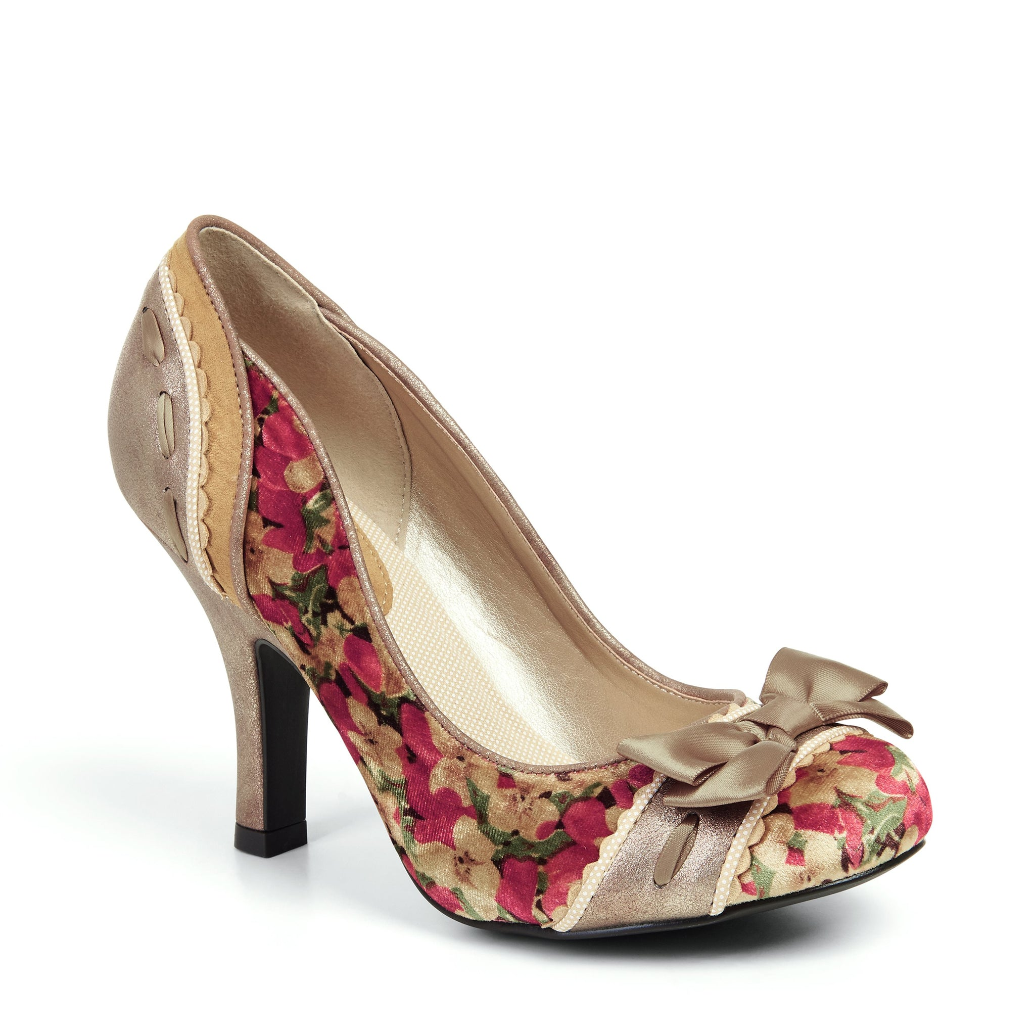 2d041ed747 Ruby Shoo Gold Multi Bow Front High Heel Court Shoes