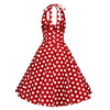 Red and White Polka Dot Rockabilly 50s Halter Swing Dress - Pretty Kitty Fashion