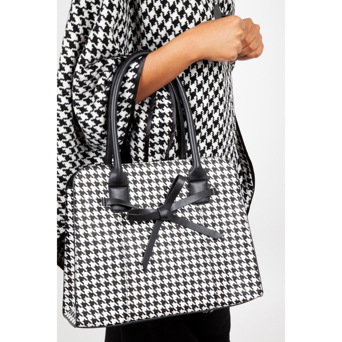 Black And White Houndstooth Handbag - Pretty Kitty Fashion