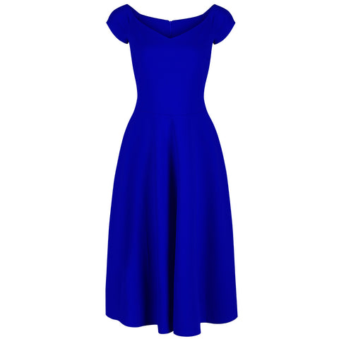 Royal Blue Classic Cap Sleeve Swing Dress