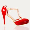 Red and Cream Platform Strappy High Heels - Pretty Kitty Fashion