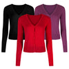 Red Stretch V Neck Button Through Cardigan - Pretty Kitty Fashion