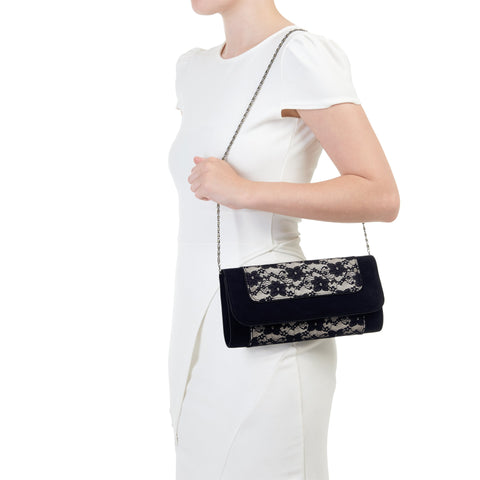 Ruby Shoo Black Lace Clutch Bag