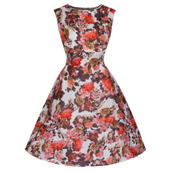 Pretty Kitty Mocha Floral Swing Dress