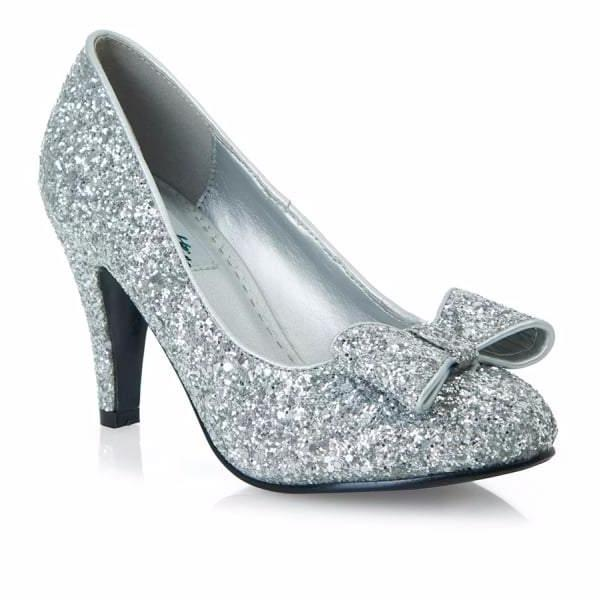 Silver Glitter Bow Party Heels - Pretty Kitty Fashion