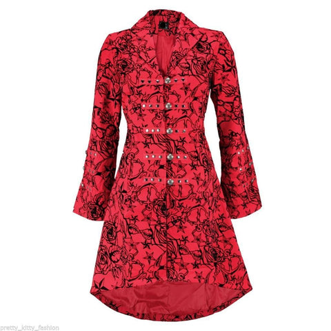 Red Vintage Flock Tattoo Long Coat