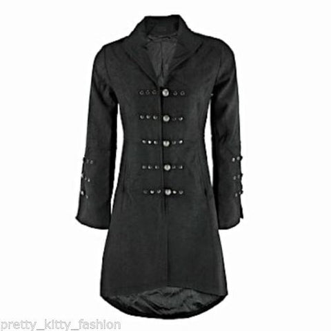 Victorian Black Military Long Vintage Inspired Jacket Coat