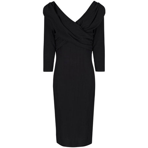 Collectif Black Knitted Pencil Wiggle Dress