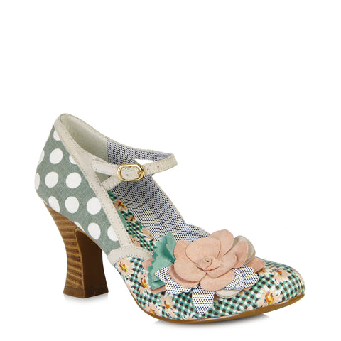 Ruby Shoo Dee Green and White Polka Dot Peach Mary Jane Heels