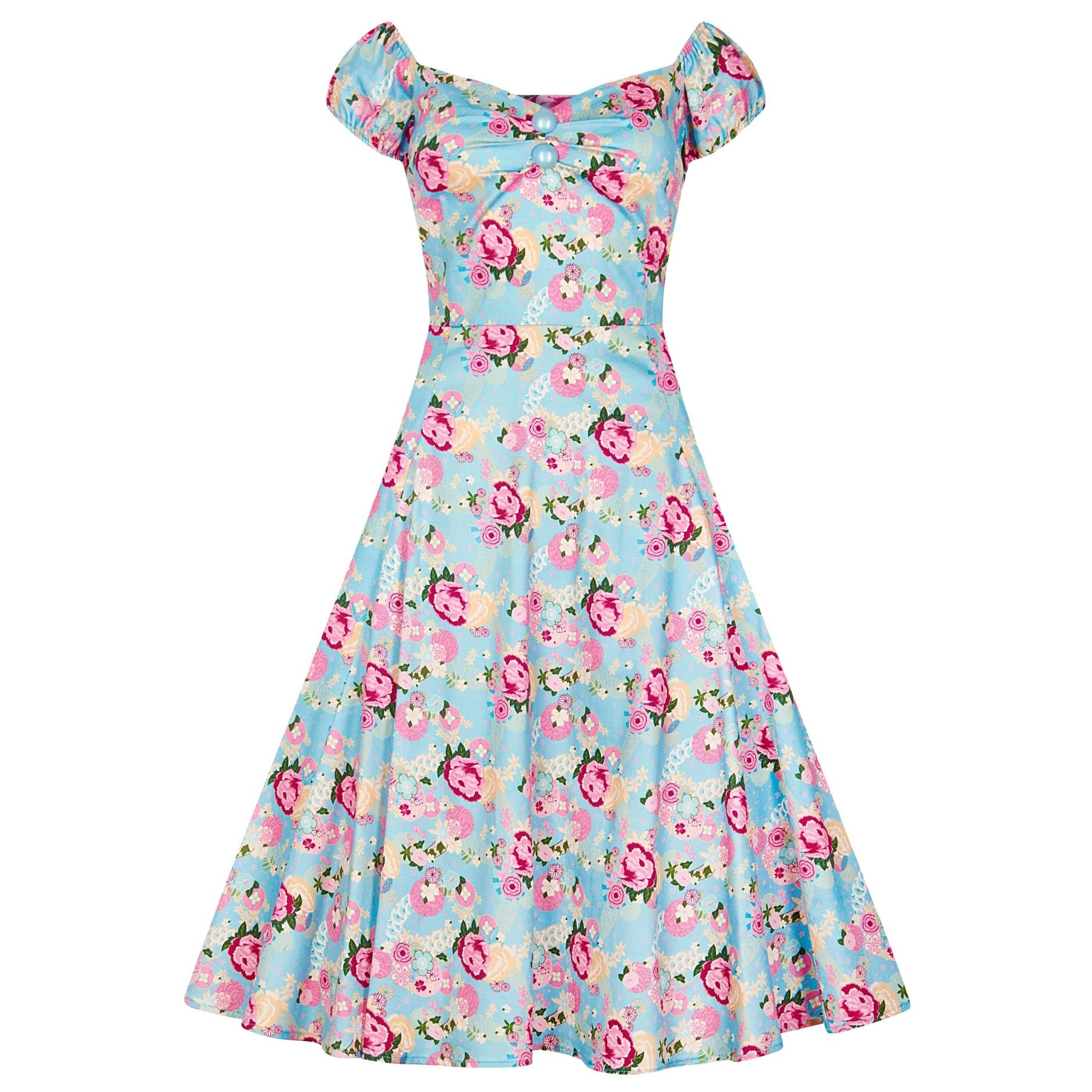 4dd345cee8bf Collectif Vintage Blue and Pink Floral Doll 50s Swing Dress - Pretty Kitty  Fashion