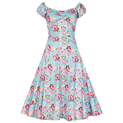 Collectif Vintage Blue and Pink Floral Doll 50s Swing Dress