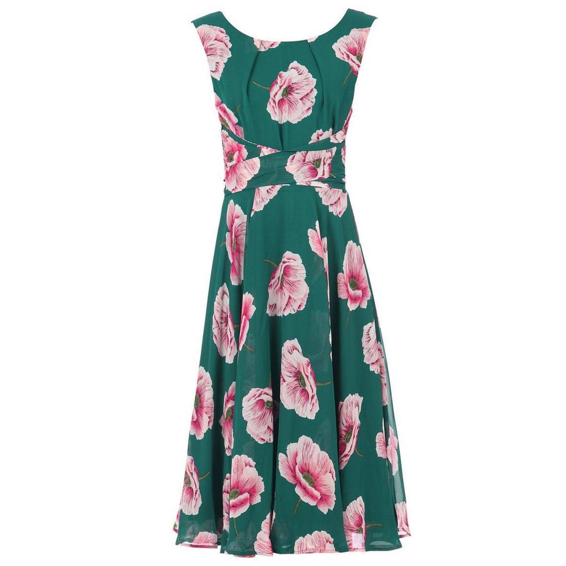 Jolie Moi Teal Green Floral Sleeveless Chiffon 50s Swing Audrey Dress - Pretty Kitty Fashion