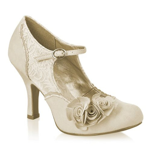 Ruby Shoo Emily Gold and Ivory Mary Jane Heels