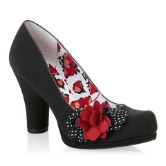 Ruby Shoo Eva Black with Polka Dot and Red Floral Corsage Court Shoes