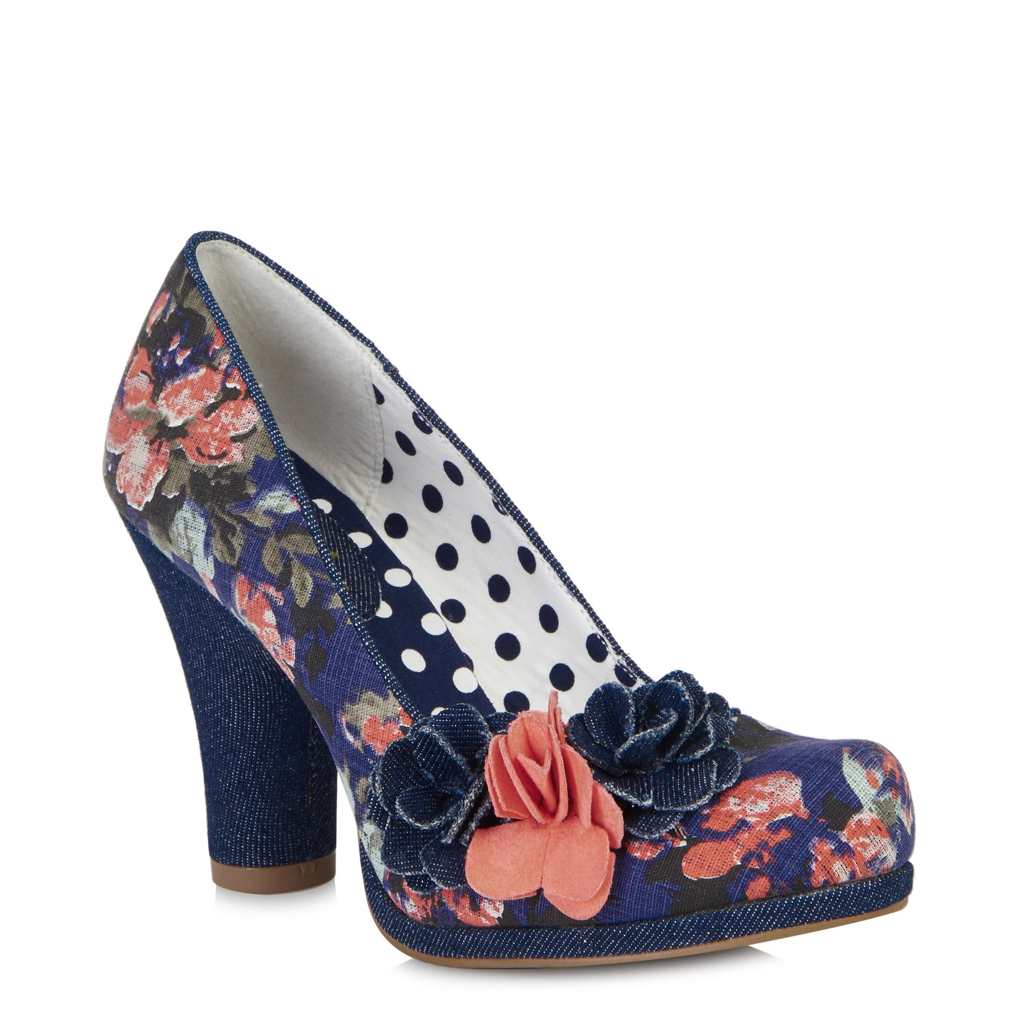 18707a7a9f Ruby Shoo Eva Denim Blue and Pink Floral Court Shoe