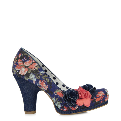 Ruby Shoo Eva Denim Blue and Pink Floral Court Shoe