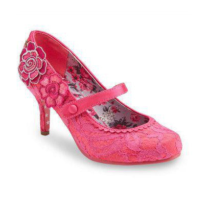 Hot Pink Lace Applique Heels