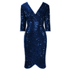 Navy Blue 3/4 Sleeve V Neck Velour Sequin Pencil Wiggle Party Dress
