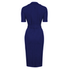 Navy Blue Belted Half Sleeve Collared Wiggle Dress
