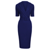 Navy Blue Belted Half Sleeve Collar Wiggle Dress