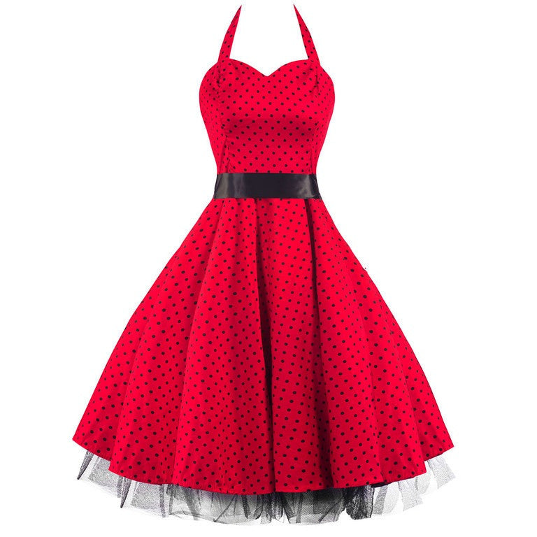Red and Black Polka Dot Rockabilly 50s Swing Prom Pin-Up Dress ...