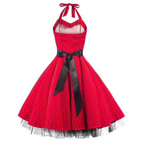50s Polka Dot Red Black Rockabilly Swing Prom Pin-Up Dress - Pretty Kitty Fashion