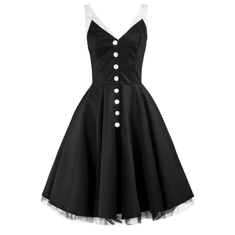 Black White Party Prom Swing Dress