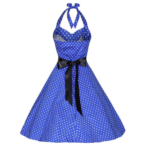 50s Polka Dot Blue Vintage Swing Prom Pin-Up Dress - Pretty Kitty Fashion