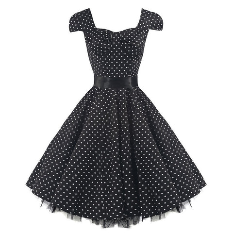 Black and White Polka Dot Tea Dress