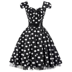 50s Black White Large Polka Dot Swing Tea Dress - Pretty Kitty Fashion