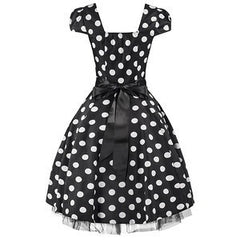 50s Black White Large Polka Dot Swing Tea Dress