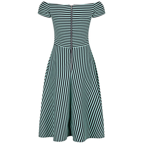 Green Black Striped Cap Sleeve Swing Dress - Pretty Kitty Fashion