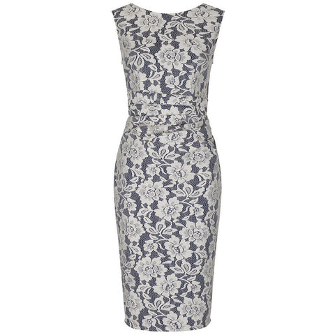 Navy Blue and Cream White Lace Wiggle Pencil Dress