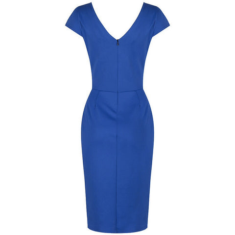 Royal Blue Capped Sleeve Bodycon Wiggle Dress