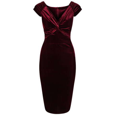 Claret Red Velour Crossover Wiggle Dress