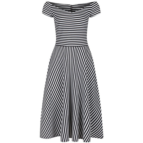 Black and White Striped Cap Sleeve Swing Dress